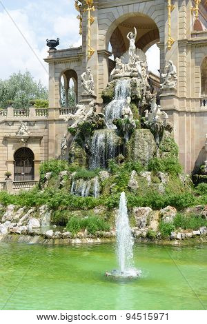 Water Fountain by Antoni Gaudi in Park Guell, Barcelona, Spain