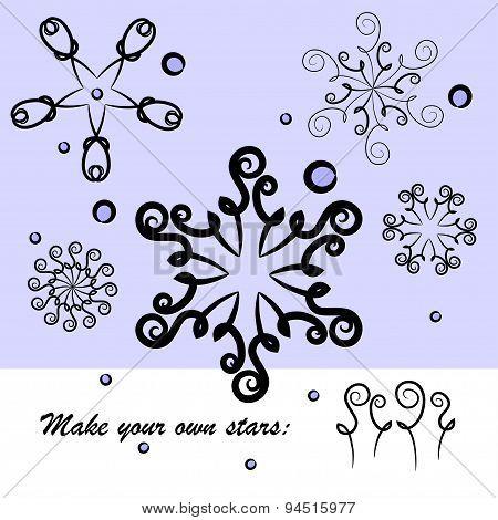 Set of stars or snowflakes