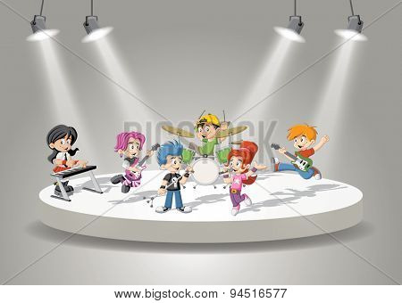 Band with cartoon children playing rock'n'roll on stage