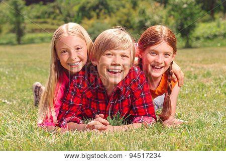 Children having fun on the grass