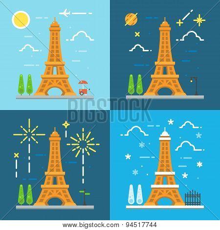 Flat Design 4 Styles 0F Eiffel Tower Paris France