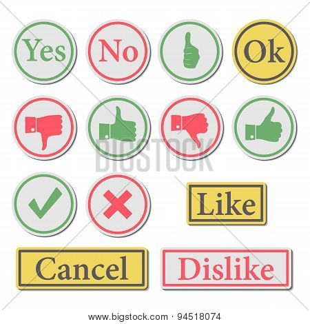Set Of Buttons, Vector Illustration.