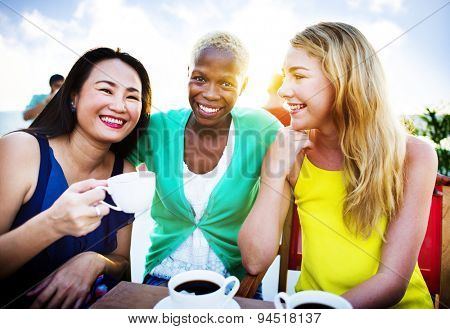 Girls Coffee Break Talking Chilling Concept