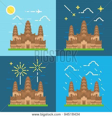 Flat Design 4 Styles Of Angkor Wat Cambodia