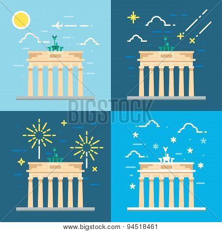 Flat Design 4 Styles Of Brandenburg Gate Berlin Germany