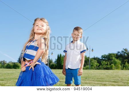 Upbeat children posing together