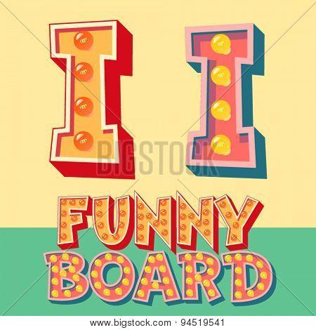 Bright funny comic vector lamp alphabet. Letter I