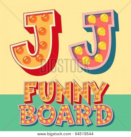 Bright funny comic vector lamp alphabet. Letter J