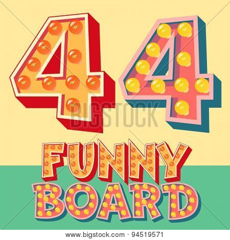 Bright funny comic vector lamp alphabet. Number 4