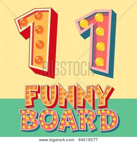 Bright funny comic vector lamp alphabet. Number 1