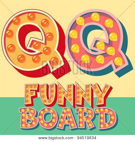 Bright funny comic vector lamp alphabet. Letter Q