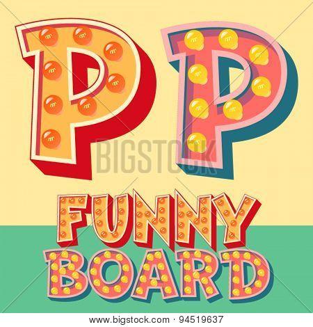 Bright funny comic vector lamp alphabet. Letter P