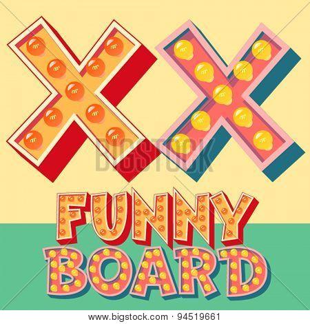 Bright funny comic vector lamp alphabet. Letter X