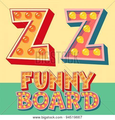 Bright funny comic vector lamp alphabet. Letter Z
