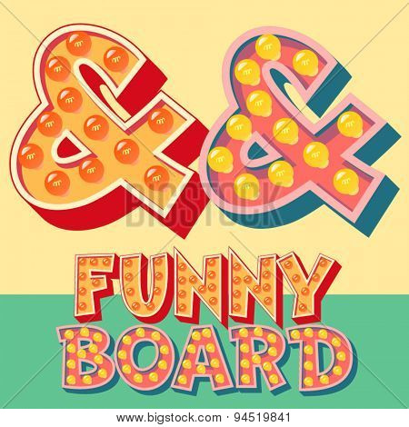 Bright funny comic vector lamp alphabet. Symbol  2