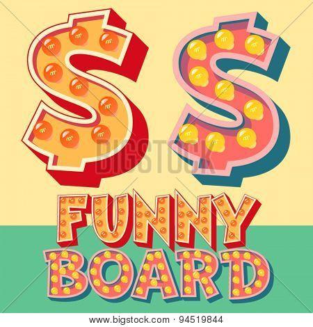 Bright funny comic vector lamp alphabet. Symbol 5