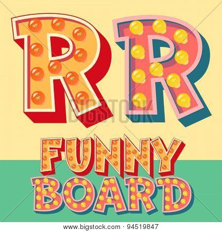 Bright funny comic vector lamp alphabet. Letter R