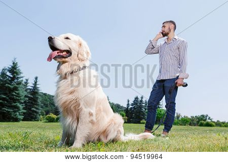 Man with his dog in the park