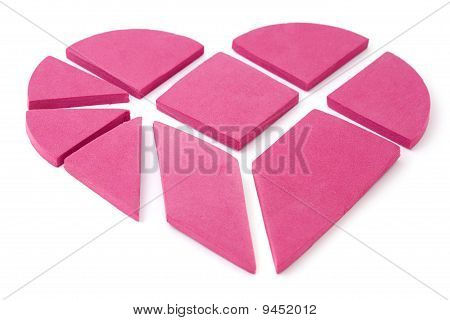 The Big Pink Heart Broken Into Geometrical Pieces.