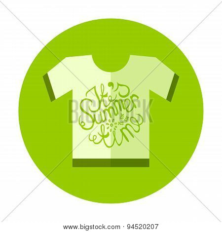 Flat Style T-Shirt Icon with Lettering Element