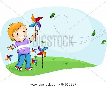 Illustration of a Little Boy Playing with a Pinwheel