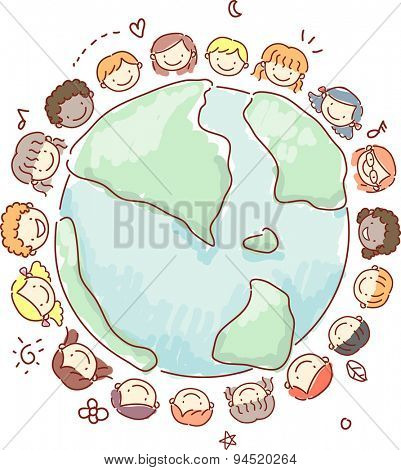 Doodle Illustration of Little Kids Surrounding the Earth