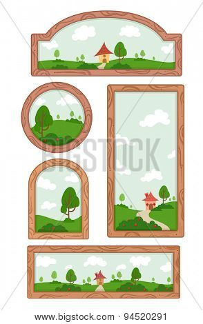 Illustration of Frames of Different Shapes and Sizes with a View of the Countryside in the Background