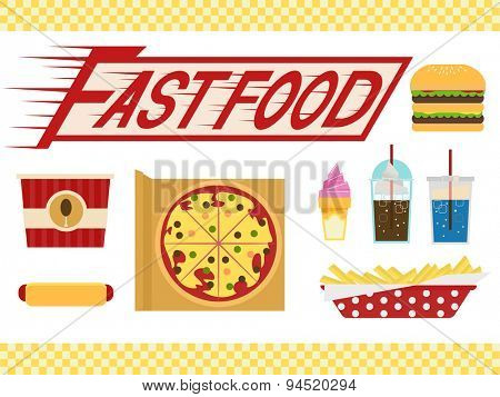 Illustration of Elements Typically Associated with Fast Food