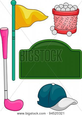 Illustration of Elements Typically Associated with Golf for Kids