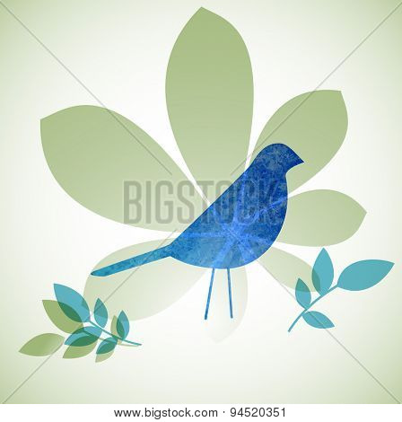 Grunge bird with leaves