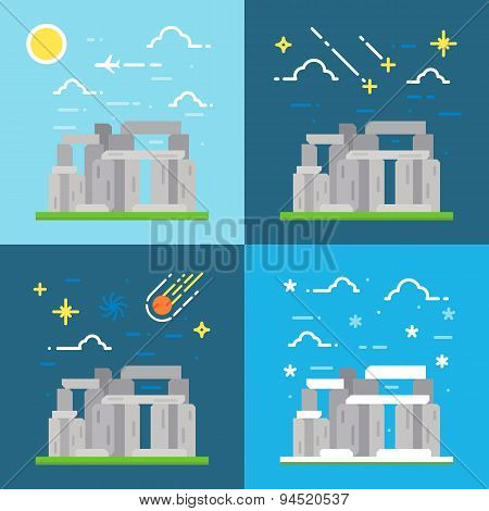 Flat Design Of Stonehenge Uk