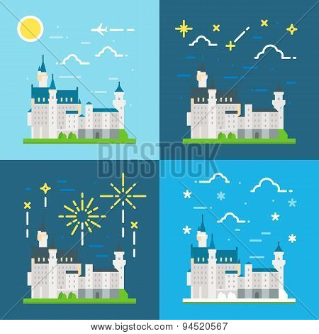 Flat Design Of Neuschwanstein Castle Germany