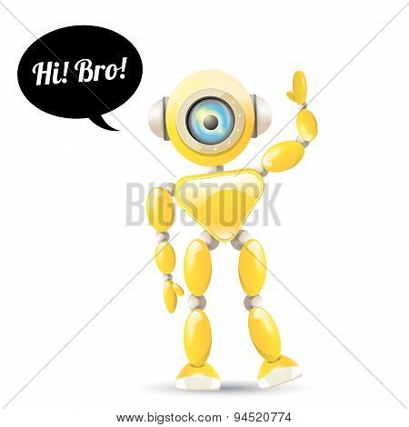 vector orange cartoon robot isolated on white