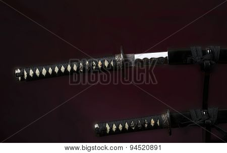 Samurai Katana  Above The Tanto Slightly Out Of The Scabbard