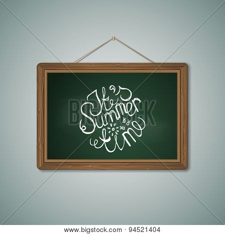 Green Chalkboard. Mockup Template with Lettering Element
