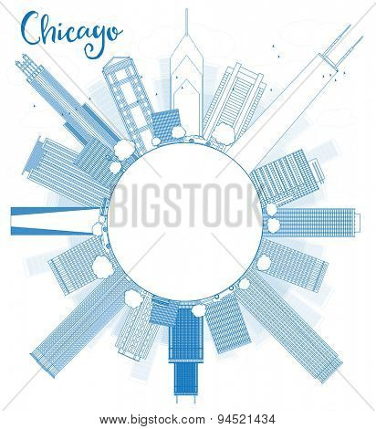 Outline Chicago city skyline with blue skyscrapers and copy space. Vector illustration