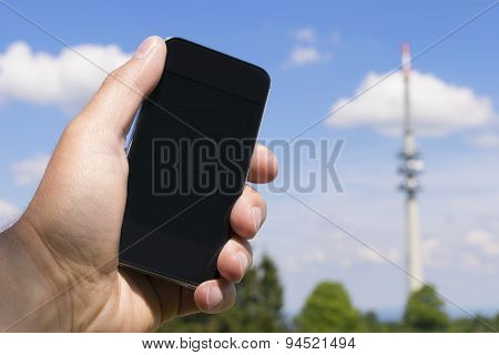 Mobile Phone And Transmission Tower