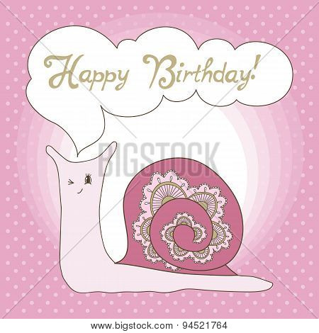 Greeting Card With Snail