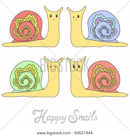 Set Of Cute Hand Drawn Snails