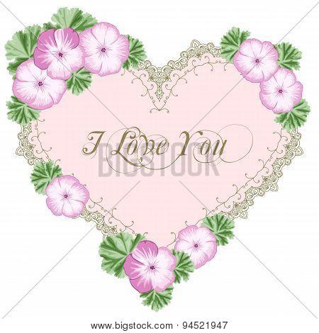 Vintage Flower Card With Geraniums