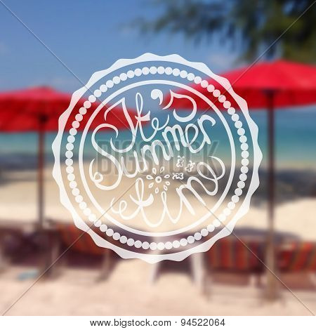 Retro Style Summer Label on Blurred Background
