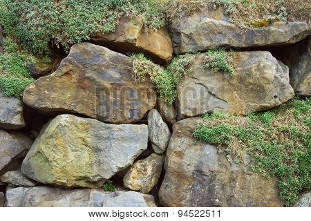 Rocks With Green Moss Background