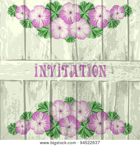 Vintage Wood Background With Geraniums