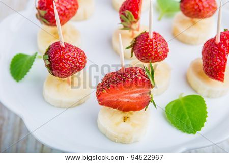 Strawberry And Banana On A Stick