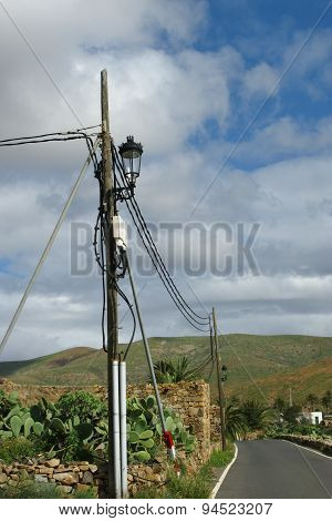 Electricity wires along a road