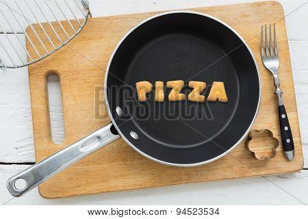 Cookie Biscuits Word Pizza In Frying Pan