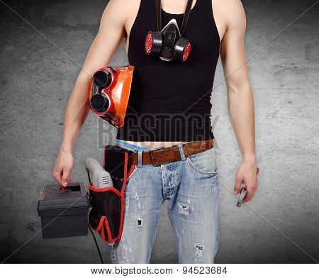 Worker With Toolbelt And Wrench