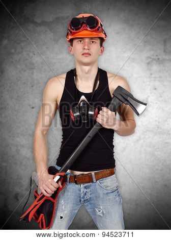 Young Handyman With Ax