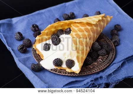 Ice Creams With Waffle Cone On Vintage Plate