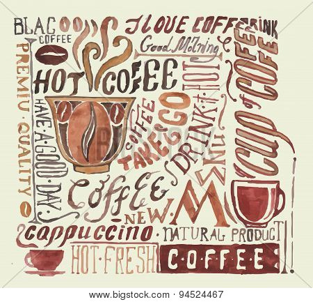 Watercolor Coffee Poster. Typography  Background
